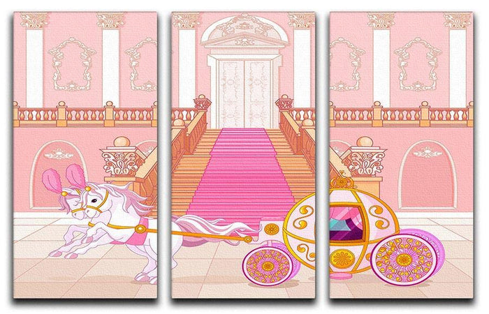Beautiful fairytale pink carriage 3 Split Panel Canvas Print
