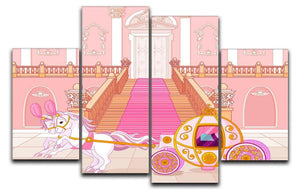 Beautiful fairytale pink carriage 4 Split Panel Canvas  - Canvas Art Rocks - 1