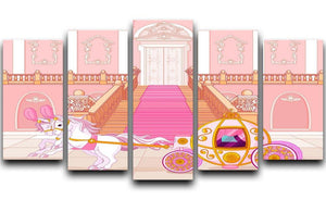 Beautiful fairytale pink carriage 5 Split Panel Canvas  - Canvas Art Rocks - 1