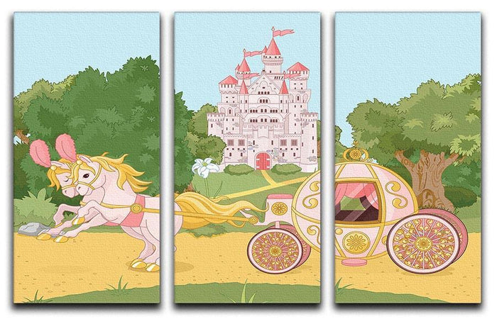 Beautiful fairytale pink carriage and castle 3 Split Panel Canvas Print