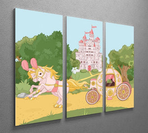Beautiful fairytale pink carriage and castle 3 Split Panel Canvas Print - Canvas Art Rocks - 2