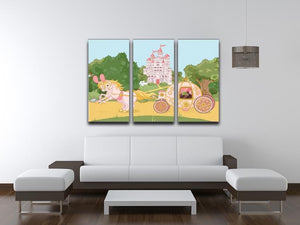 Beautiful fairytale pink carriage and castle 3 Split Panel Canvas Print - Canvas Art Rocks - 3