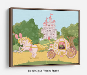 Beautiful fairytale pink carriage and castle Floating Frame Canvas