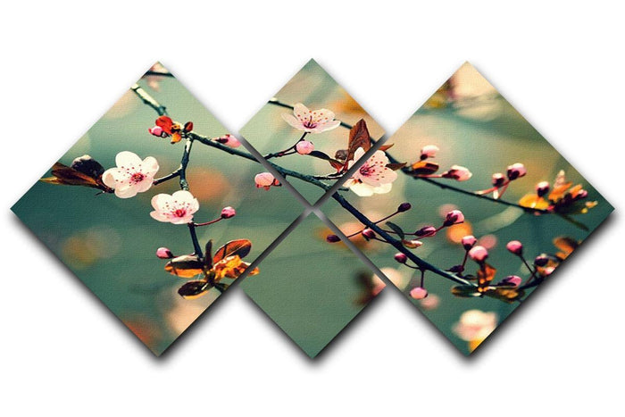 Beautiful flowering Japanese cherry 4 Square Multi Panel Canvas