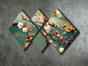 Beautiful flowering Japanese cherry 4 Square Multi Panel Canvas  - Canvas Art Rocks - 2