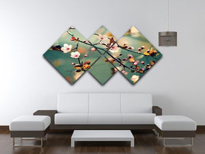 Beautiful flowering Japanese cherry 4 Square Multi Panel Canvas  - Canvas Art Rocks - 3