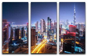 Beautiful night cityscape of Dubai 3 Split Panel Canvas Print - Canvas Art Rocks - 1