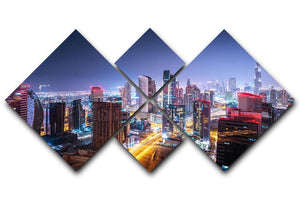 Beautiful night cityscape of Dubai 4 Square Multi Panel Canvas  - Canvas Art Rocks - 1