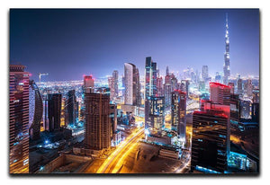 Beautiful night cityscape of Dubai Canvas Print or Poster  - Canvas Art Rocks - 1
