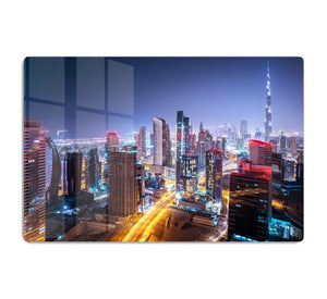 Beautiful night cityscape of Dubai HD Metal Print