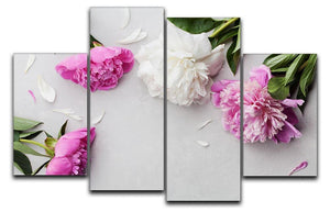 Beautiful pink and white peony flowers 4 Split Panel Canvas  - Canvas Art Rocks - 1
