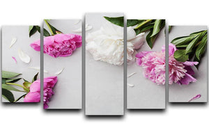 Beautiful pink and white peony flowers 5 Split Panel Canvas  - Canvas Art Rocks - 1