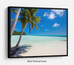 Beautiful tropical beach with palm trees Floating Frame Canvas - Canvas Art Rocks - 1