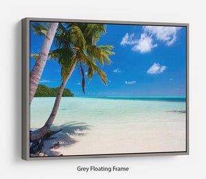 Beautiful tropical beach with palm trees Floating Frame Canvas - Canvas Art Rocks - 3