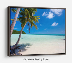 Beautiful tropical beach with palm trees Floating Frame Canvas - Canvas Art Rocks - 5