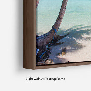 Beautiful tropical beach with palm trees Floating Frame Canvas - Canvas Art Rocks - 8