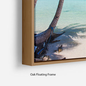 Beautiful tropical beach with palm trees Floating Frame Canvas - Canvas Art Rocks - 10
