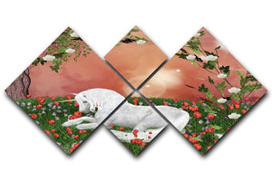 Beautiful unicorn 4 Square Multi Panel Canvas  - Canvas Art Rocks - 1