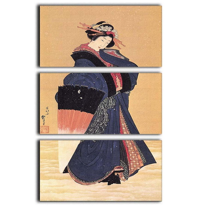 Beauty with umbrella in the snow by Hokusai 3 Split Panel Canvas Print