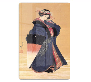 Beauty with umbrella in the snow by Hokusai HD Metal Print