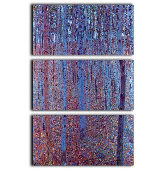 Beech Forest by Klimt 3 Split Panel Canvas Print