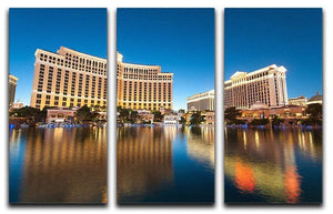 Bellagio Hotel Casino during sunset 3 Split Panel Canvas Print - Canvas Art Rocks - 1