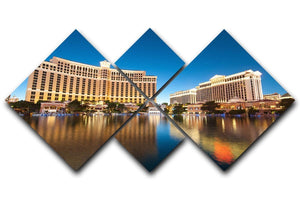 Bellagio Hotel Casino during sunset 4 Square Multi Panel Canvas  - Canvas Art Rocks - 1
