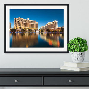 Bellagio Hotel Casino during sunset Framed Print - Canvas Art Rocks - 1