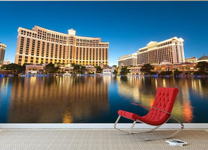 Bellagio Hotel Casino during sunset Wall Mural Wallpaper - Canvas Art Rocks - 2