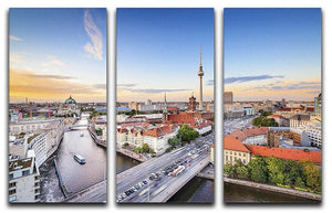 Berlin skyline on the Spree River 3 Split Panel Canvas Print - Canvas Art Rocks - 1