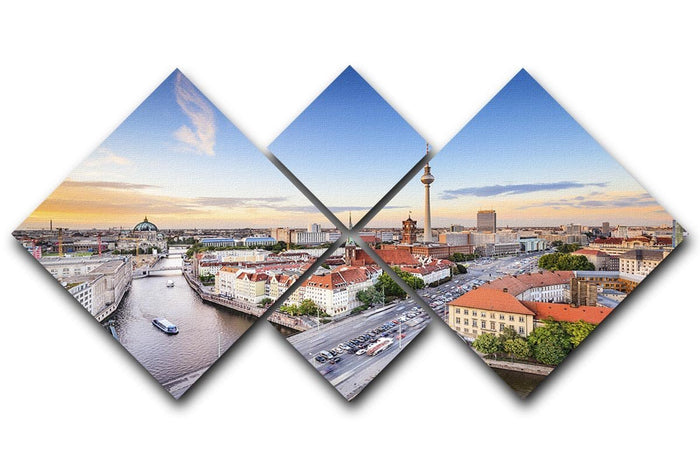 Berlin skyline on the Spree River 4 Square Multi Panel Canvas