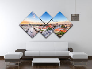 Berlin skyline on the Spree River 4 Square Multi Panel Canvas  - Canvas Art Rocks - 3