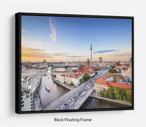 Berlin skyline on the Spree River Floating Frame Canvas