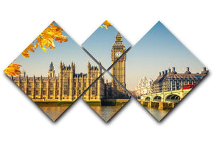 Big Ben 4 Square Multi Panel Canvas  - Canvas Art Rocks - 1