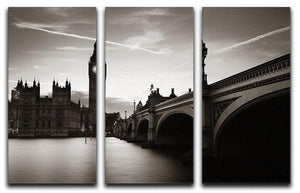 Big Ben and House of Parliament dusk panorama 3 Split Panel Canvas Print - Canvas Art Rocks - 1