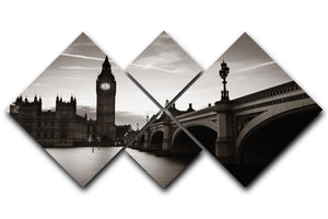 Big Ben and House of Parliament dusk panorama 4 Square Multi Panel Canvas  - Canvas Art Rocks - 1