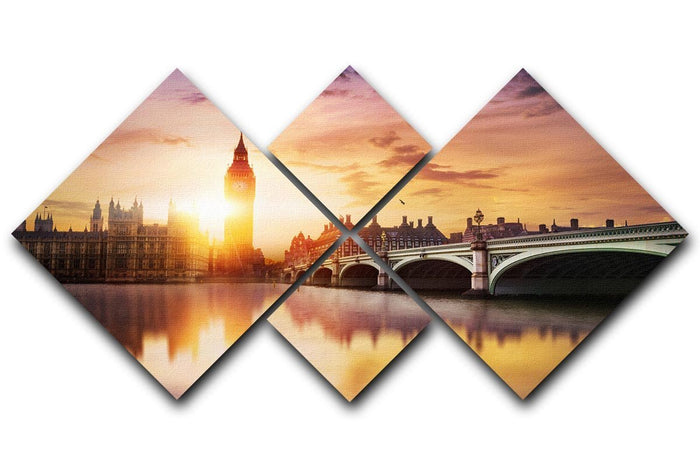 Big Ben and Westminster Bridge at dusk 4 Square Multi Panel Canvas