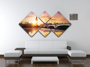 Big Ben and Westminster Bridge at dusk 4 Square Multi Panel Canvas  - Canvas Art Rocks - 3