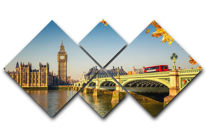Big Ben and westminster bridge in London 4 Square Multi Panel Canvas