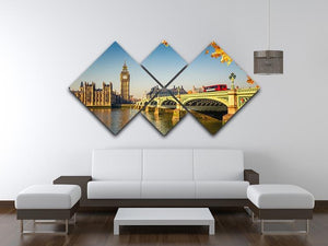 Big Ben and westminster bridge in London 4 Square Multi Panel Canvas  - Canvas Art Rocks - 3