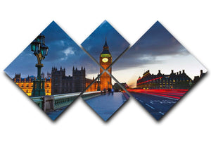 Big Ben at night London 4 Square Multi Panel Canvas  - Canvas Art Rocks - 1