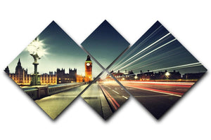 Big Ben from Westminster Bridge 4 Square Multi Panel Canvas  - Canvas Art Rocks - 1