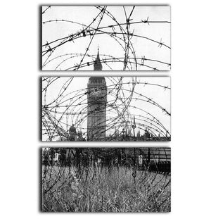 Big Ben through barbed wire 3 Split Panel Canvas Print - Canvas Art Rocks - 1