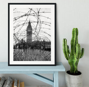 Big Ben through barbed wire Framed Print - Canvas Art Rocks - 1