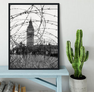 Big Ben through barbed wire Framed Print - Canvas Art Rocks - 2