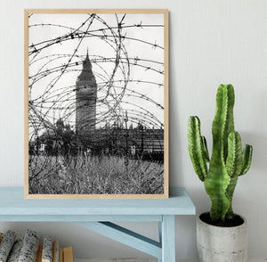 Big Ben through barbed wire Framed Print - Canvas Art Rocks - 4