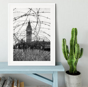 Big Ben through barbed wire Framed Print - Canvas Art Rocks - 5