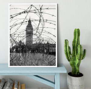 Big Ben through barbed wire Framed Print - Canvas Art Rocks -6