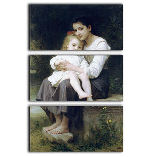 Big Sis By Bouguereau 3 Split Panel Canvas Print - Canvas Art Rocks - 1