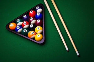 Billiard balls on green Wall Mural Wallpaper - Canvas Art Rocks - 1
